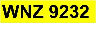 WNZ 9232   Personalised / Cherished Registration  Private Number Plate.