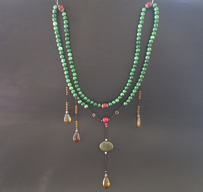 Old Chinese Jadeite jade Bead Mandarin Court Necklace long 38 inch