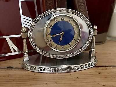 Stunning Art Deco Silver Plate English Desk Clock Swiss Movement 8 Day