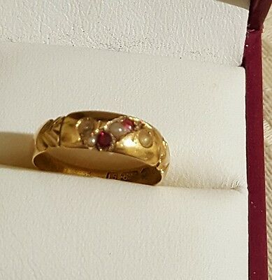 Antique 15Ct Rose Gold Ruby And Seed Pearl Ring  Size 6