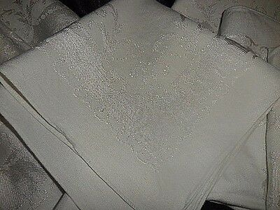 Lot Of 8 Vintage White Embossed Linen Dinner Napkins 16 X 16 Nice Condition!!