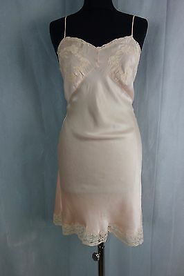 Vtg 1930s, 40s Pale Peach Satin Bias Cut Slip Petticoat with Lace Teddy