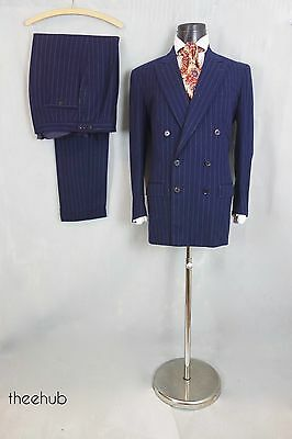 Suave Vtg 1940s Double Breasted Wide Lapelled Blue Heavy Wool 2 Piece Suit Cuffs