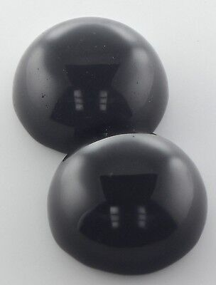 A PAIR OF 10mm ROUND CABOCHON-CUT NATURAL AFRICAN JET-BLACK ONYX GEMS £1 NR!