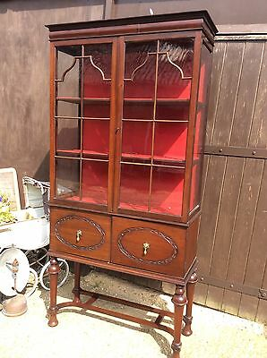 Beautiful Antique Mahogany Display Cabinet Bookcase Unit