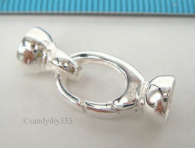 1x STERLING SILVER BEADING CORD END CAP CONNECTOR with LOBSTER CLASP 24mm  #2216