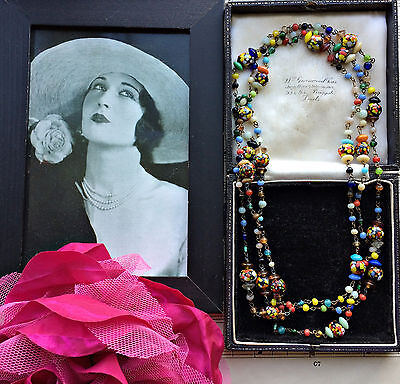 Antique Art Deco 20s Venetian Murano Colourful End Of Day Beads Flapper Necklace