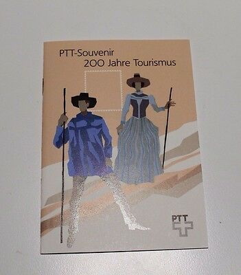 Mint 1987 Switzerland Bicentenary Of Tourism Folder Stamp Set 4 + M/s Cv £18.90