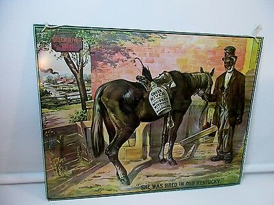 Vintage Green River Whiskey Old Kentucky Advertising Tin Sign Black Americana