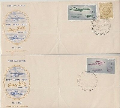 India - Golden Jubilee of First Aerial Post (2no. PO FDC's) 1961