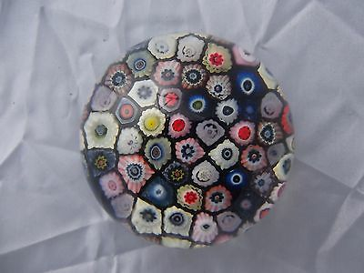 (948) Vintage Multi Coloured Millefiori Paperweight # Cobalt Blue Ground