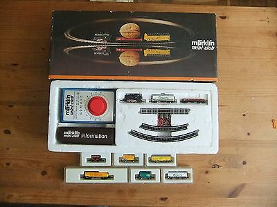 Marklin mini-club Z Gauge 8909S Starter set + 6 extra goods wagons, all boxed