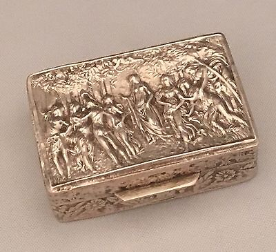 "BOTTICELLI ""LA PRIMAVERA"" Antique Pill Box Repoussé .835 Sterling Silver SWEDEN"