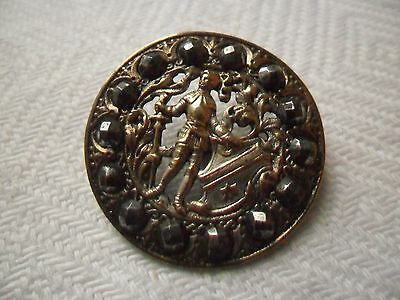 Antique Picture Button  Knight in Armour