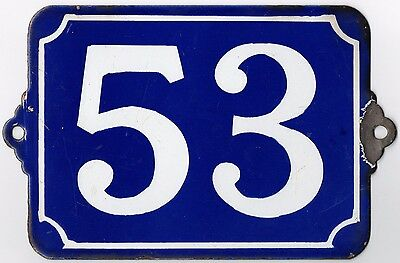 Large old blue French house number 53 door gate plate plaque enamel metal sign