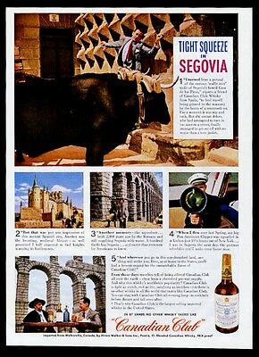 1945 Segovia Spain ox Casa de los Picos photo Canadian Club whisky print ad
