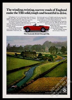 1973 Triumph TR6 red car English country road color photo vintage print ad