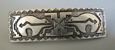 DB Hallmark Navajo Double Bear spirit line arrow sterling silver  hair barrette