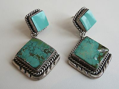 Native American earrings Navajo sterling silver VTG dangle turquoise exc quality