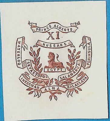 + Prince Alberts XI Hussar's Calvary Embossed Arms Crest Cut Square Reprint