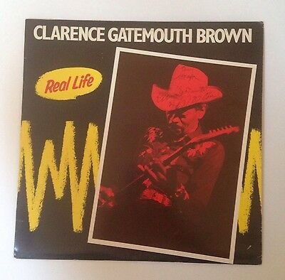 Rare SIGNED Blues Record Album CLARENCE GATEMOUTH BROWN Real Life ROUNDER 2054