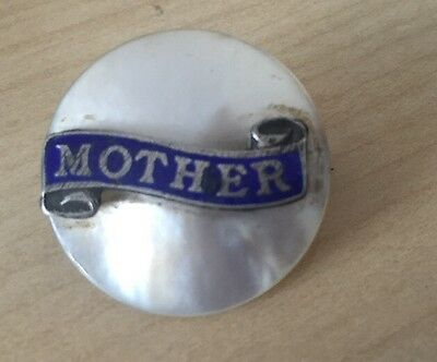 Antique Silver Enamel And Mother Of Pearl Brooch Pin - Mother 1900
