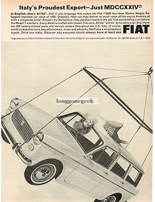 1965 Fiat 1100D Station Wagon Italy's Proudest Export Vtg Print Ad