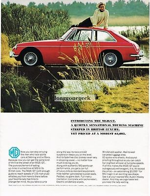 1966 Red MGB GT Pretty Girl Lying On Roof Vtg Print Ad
