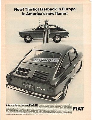 1966 Fiat 850 Fastback Woman Dressed as Statue Of Liberty Vtg Print Ad