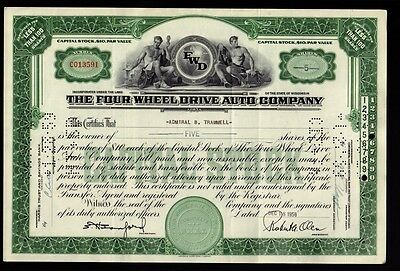 FOUR WHEEL DRIVE AUTO CO WI  1958 issued to Admiral B. Trammell