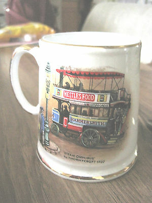 """James Kent Old Foley Staffordshire """"steam Omnibus"""" &""""rotary Cultivator"""" Mug Cup"""