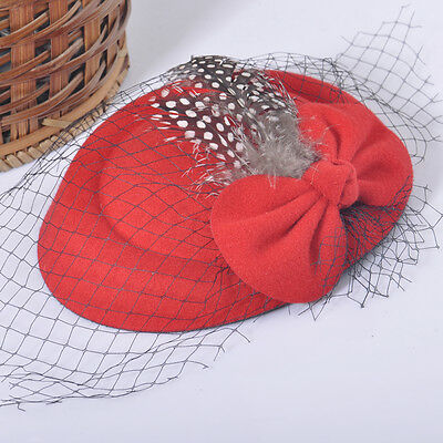 Lady Girl Feather Mini Pillbox Hat Hair Accessory Clip Barrette Fascinator Red