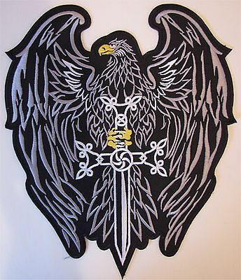Rare Large Bald Eagle Shield Motorcycle Biker Embroidered Sew On Badge Patch