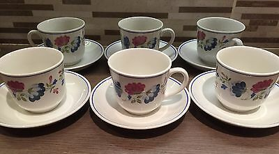 BHS Priory China Cups And Saucers X 6 Good Condition