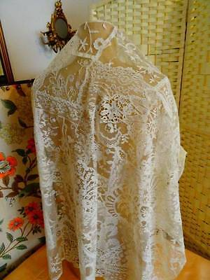A Stunning Antique Victorian Normandy Lace Table Cloth C.1880