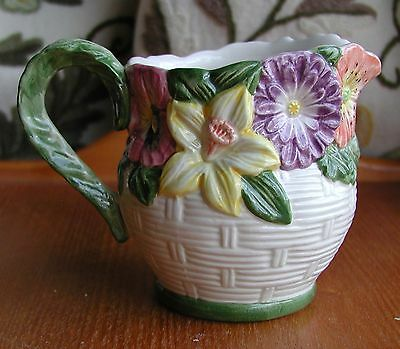 """Fitz & Floyd Coutry Garden China Sculptered 4 1/4"""" Creamer"""