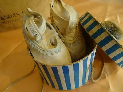 A Charming Pair Antique Soft Leather Baby Shoes & Candy Stripe Box C.1910