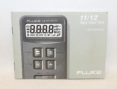 FLUKE 11-12 MULTIMETER English Users Manual Instruction Guide BOOKLET ONLY
