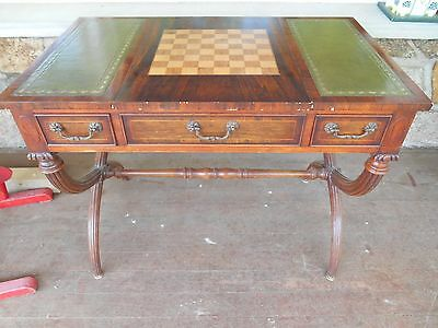 vintage game table or desk or end table leather rosewood