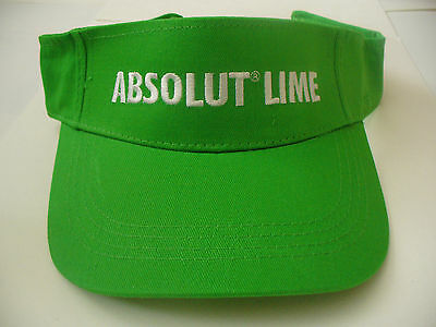 Absolut Lime Vodka Green Sun Hat/Visor/Cap/Shade - Adjustable Size - NEW