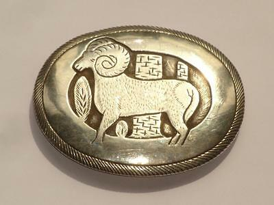 Stunning Large Antique Vintage Sterling Silver Belt Buckle Ram Navajo Tom Bahe