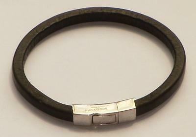 Vintage Tateossian Black Fettuccine Leather Bracelet With Sterling Silver Clasp