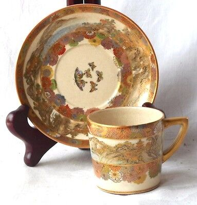 C19Th Japanese Satsuma Hand Painted Cup And Saucer With Flowers & Country Scenes