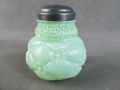 c1890 NORTHWOOD Glass SUGAR SHAKER Muffineer~~Quilted Phlox Green Opaque