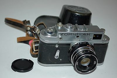Zorki 4K Rangefinder Camera + Industar Lens, Case, Cap. 1974. 74079853. UK Sale