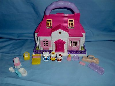 Hello Kitty Carry Along Doll House With Furniture & Figures