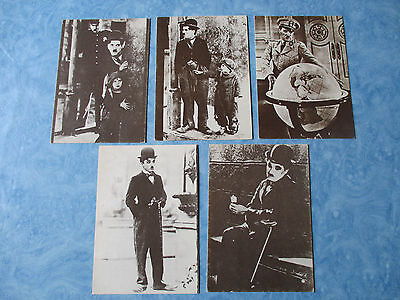 LOT 5DIFFERENT CPSM CHARLIE CHAPLIN CP cpa postcard Cinéma movie TBed DELTA 1980