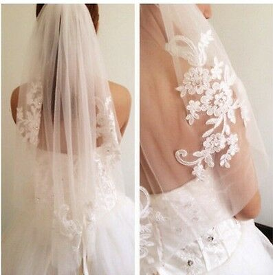 1T White ivory Wedding Bridal Veil Lace applique Crystal Elbow length+Comb veil