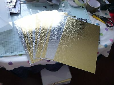 22 x A4 Sheets of Gold/Silver Embossed Mirri Card(new)