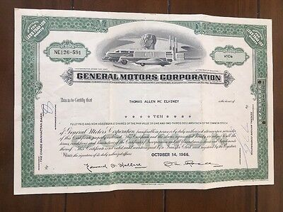 GENERAL MOTORS CORP. 10 Shares Certificate, 1966 Issue, Scripophily